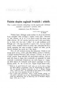 Početne skupine suglasah hrvatskih i srbskih / M. Hattala