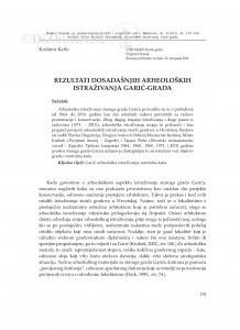 Rezultati dosadašnjih arheoloških istraživanja Garić-grada / Krešimir Karlo