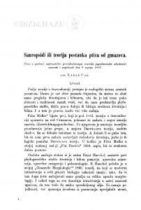 Sauropsidi ili teorija postanka ptica od gmazova / L. Car