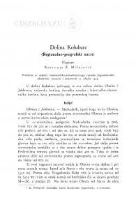 Dolina Kolubare. : (Regionalno-geografski nacrt.) / B. Ž. Milojević