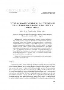 Osvrt na komplementarnu i alternativnu terapiju kojoj pribjegavaju bolesnice s rakom dojke / Milica Katić, Zlata Ožvačić, Dragan Soldo