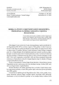 Borba za život i umjetnost Krste Hegedušića. Predložak za fresku Golgota i njezina realizacija / Iva Kožnjak