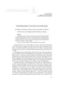 Mamografska analiza kalcifikacija / D. Miletić, I. Mendrila, M. Mazur Grbac, B. Čandrlić, P. Valković