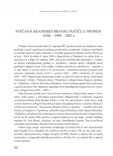 Svečana akademija Branku Fučiću u spomen (1920. - 1999. - 2007.) : [prikaz] / Tomislav Galović