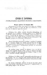 Izvodi iz zapisnika Jugoslavenske akademije znanosti i umjetnosti [1867-1868]