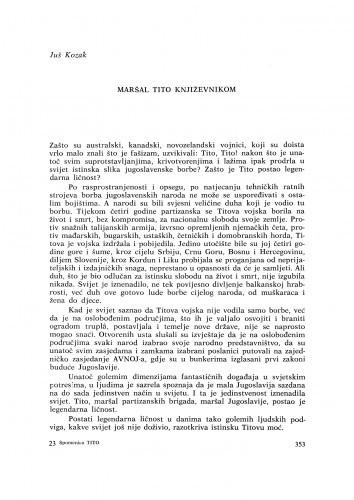 Maršal Tito književnikom / J. Kozak