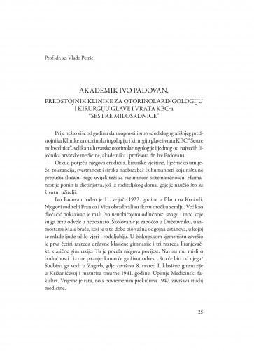 Akademik Ivo Padovan : predstojnik klinike za otorinolaringologiju i kirurgiju glave i vrata KBC-a