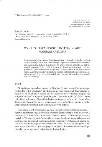 Osobitosti španjolske antroponimije: marijanska imena / Ivana Lončar