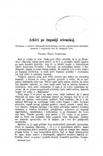 Arkivi po županiji sriemskoj / Emilije Laszowski