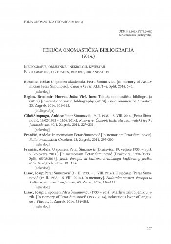 Tekuća onomastička bibliografija (2014.) / Branimir Brgles, Joža Horvat, Ines Virč
