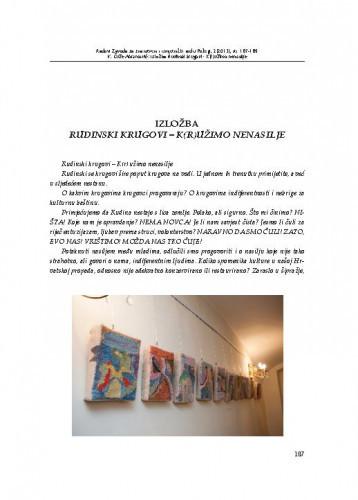 Izložba Rudinski krugovi - K(r)užimo nenasilje / Vera Ćuže Abramović