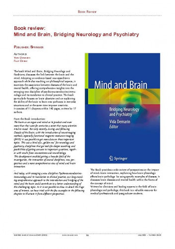 Book Review: Mind & Brain, Bridging Neurology and Psychiatry : Publisher: Springer / Marko Pećina