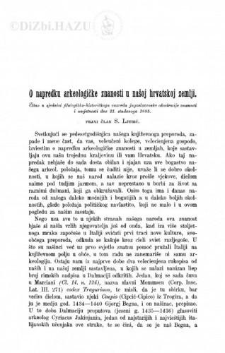 O napredku arkeologičke znanosti u našoj hrvatskoj zemlji / S. Ljubić