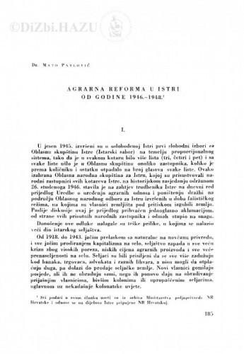 Agrarna reforma u Istri od godine 1946.-1948. / M. Pavlović
