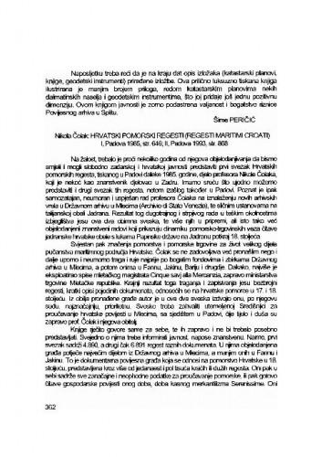 Nikola Čolak: Hrvatski pomorski regesti (Regesti maritimi Croati) - Sv. 1, Padova, 1985; Sv. 2, Padova, 1993. / Šime Peričić