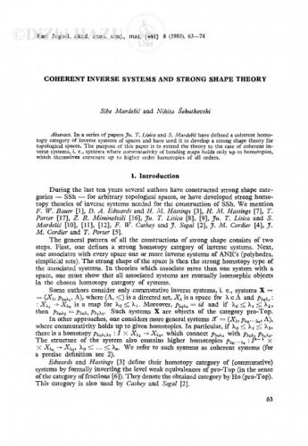 Coherent inverse systems and strong shape theory / S. Mardešić, N. Šekutkovski