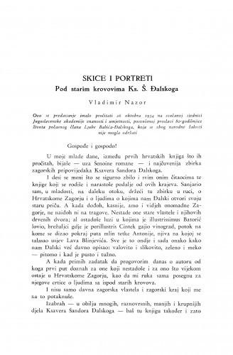 Skice i portreti : Pod starim krovovima K. Š. Đalskoga / V. Nazor