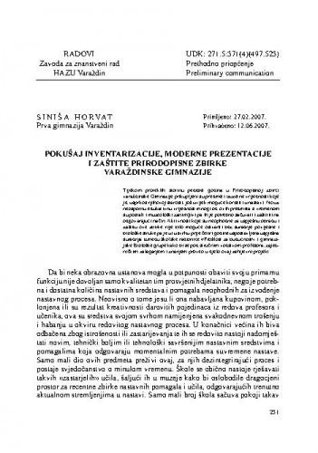 Pokušaj inventarizacije, moderne prezentacije i zaštite Prirodopisne zbirke varaždinske Gimnazije / Siniša Horvat