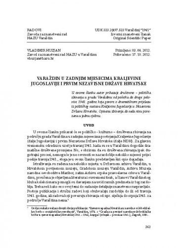 Varaždin u zadnjim mjesecima Kraljevine Jugoslavije i prvim Nezavisne Države Hrvatske / Vladimir Huzjan