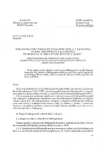 Bibliografski pregled tiskanih djela i rukopisa I. K. Lalanguea te radovi o njegovom životu i radu / Vid Lončarić