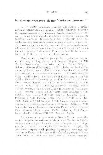 Istraživanje vegetacije planina Vardarske banovine / I. Horvat