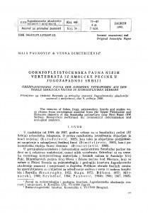 Gornjopleistocenska fauna nižih vertebrata iz Smolućke pećine u jugozapadnoj Srbiji / Maja Paunović, Vesna Dimitrijević