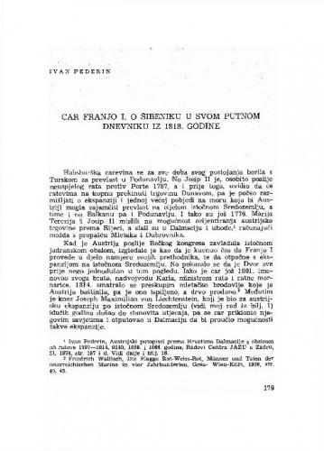 Car Franjo I. o Šibeniku u svom putnom dnevniku iz 1818. godine / Ivan Pederin