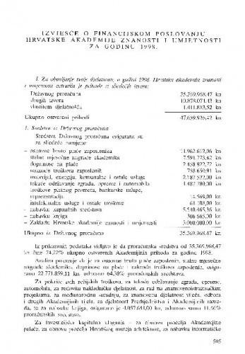 Izvješće o financijskom poslovanju Hrvatske akademije znanosti i umjetnosti za godinu 1998.