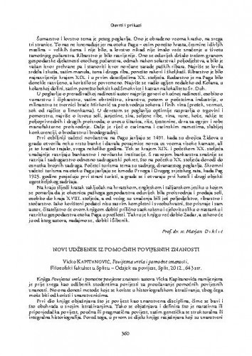 Novi udžbenik iz pomoćnih povijesnih znanosti : Vicko Kapitanović, Povijesna vrela i pomoćne znanosti, Filozofski fakultet u Splitu - Odsjek za povijest, Split, 2012. : [prikaz] / Božena Glavan