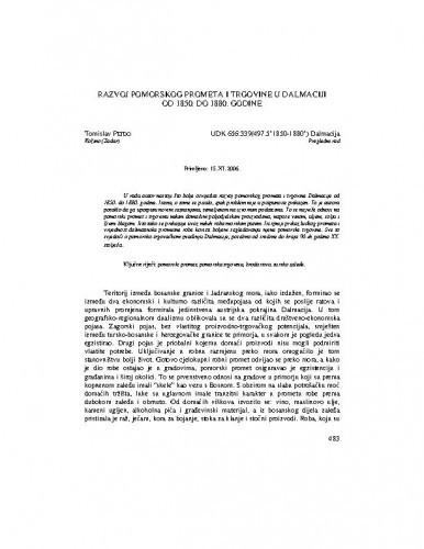Razvoj pomorskog prometa i trgovine u Dalmaciji od 1850. do 1880. godine / Tomislav Pejdo