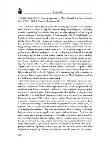 Anđelko Badurina, Inventar samostana sv. Marije Magdalene u Portu na otoku Krku (1734.-1878.), Glosa, Rijeka-Zagreb, 2013. : [prikaz] / Maja Šatalić