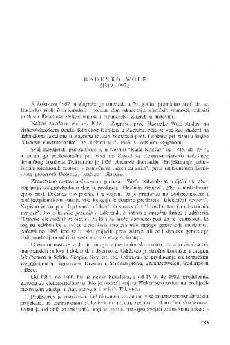 Radenko Wolf : (1919.-1997.) / Vojislav Bego