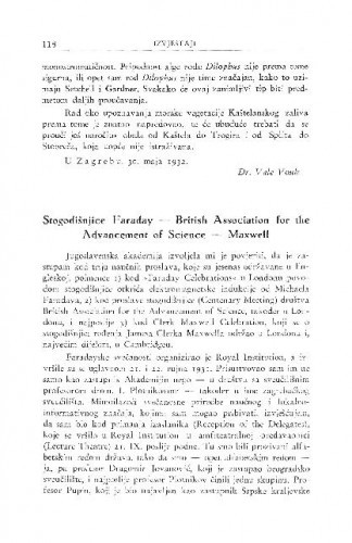 Stogodišnjice Faraday - British Association for the Advancement of Science - Maxvell / S. Hondl