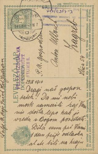Dopisnica Naste Rojc Antunu Ullrichu, Sušak, Hotel Jadran, 29.10.1916.