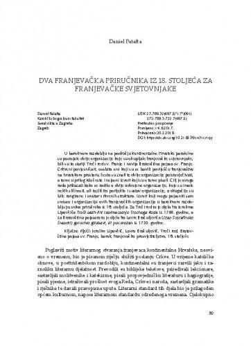Dva franjevačka priručnika iz 18. stoljeća za franjevačke svjetovnjake / Daniel Patafta