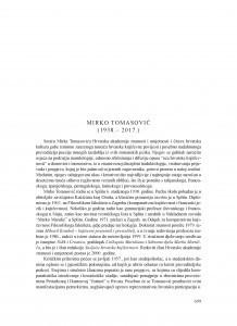 Mirko Tomasović (1938.-2017.) : [nekrolog]