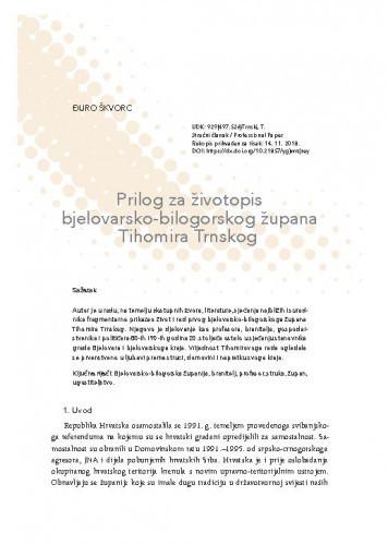 Prilog za životopis bjelovarsko-bilogorskog župana Tihomira Trnskog / Đuro Škvorc