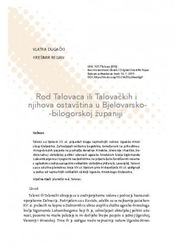 Rod Talovaca ili Talovačkih i njihova ostavština u Bjelovarsko-bilogorskoj županiji / Vlatka Dugački, Krešimir Regan