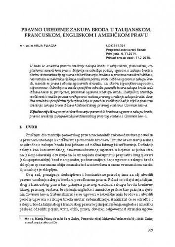 Pravno uređenje zakupa broda u talijanskom, francuskom, engleskom i američkom pravu