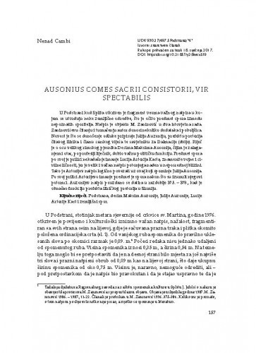 Ausonius comes sacrii consistorii, vir spectabilis / Nenad Cambi