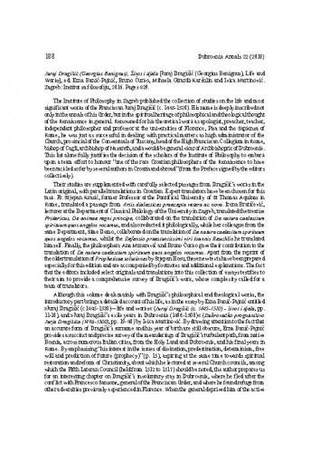 Juraj Dragišić (Georgius Benignus), Život i djela [Juraj Dragišić (Georgius Benignus), Life and Works], ed. Erna Banić-Pajnić, Bruno Ćurko, Mihaela Girardi-Karšulin and Ivica Martinović. Zagreb: Institut za filozofiju, 2016. : [prikaz] = [prikaz] / Relja Seferović