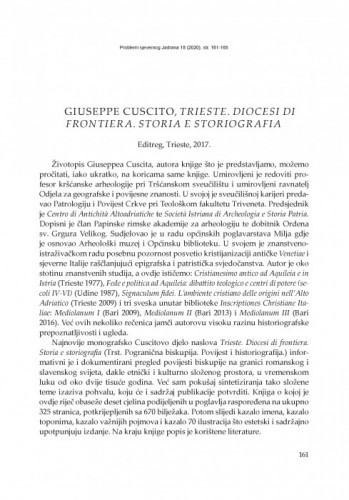 Giuseppe Cuscito, Trieste. Diocesi di frontiera. Storia e storiografia. Editreg, Trieste, 2017. : [prikaz] / Elvis Orbanić