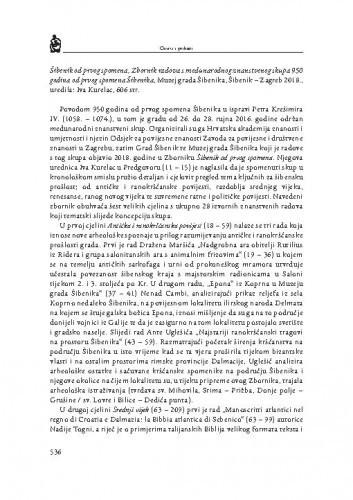 Šibenik od prvog spomena, Zbornik radova s međunarodnog znanstvenog skupa 950 godina od prvog spomena Šibenika, Muzej grada Šibenika, Šibenik – Zagreb 2018., uredila: Iva Kurelac : [prikaz] / Božena Glavan