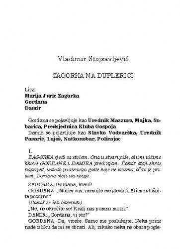 Zagorka na duplerici / Vladimir Stojsavljević