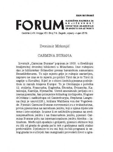 Carmina Burana / [preveo] Zvonimir Mrkonjić