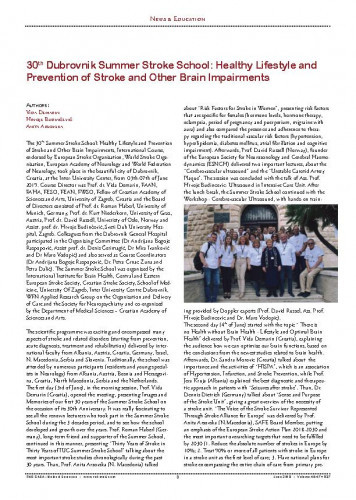 30th Dubrovnik Summer Stroke School: healthy lifestyle and prevention of stroke and other brain impairments : [report] / Vida Demarin, Hrvoje Budinčević, Anita Arsovska