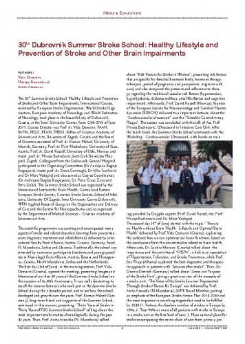 30th Dubrovnik Summer Stroke School: healthy lifestyle and prevention of stroke and other brain impairments : [report]Vida Demarin, Hrvoje Budinčević, Anita Arsovska