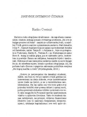 Dnevnik intimnog čitanja / Ratko Cvetnić