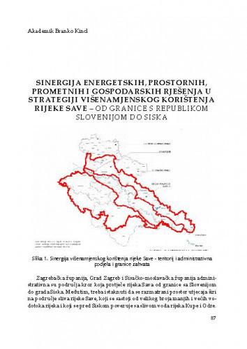 Sinergija energetskih, prostornih, prometnih i gospodarskih rješenja u strategiji višenamjenskog korištenja rijeke Save – od granice s Republikom Slovenijom do SiskaBranko Kincl