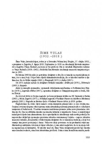 Šime Vulas (1932.-2018.) : [nekrolog] / Vera Horvat Pintarić